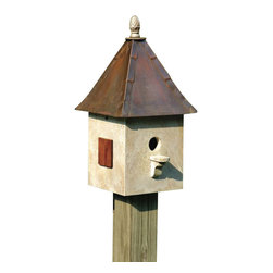 Heartwood - Songbird Suite Birdhouse Old World Finish - With  so  many  distinctive  touches--solid  copper  roof  with  lapped  trim,  cast  iron  finial,  mahogany  shutters--  you  may  be  tempted  to  keep  this  home  for  yourself.  The  suite  comes  equipped  with  drainage  and  ventilation  plus  a  removable  roof  for  easy  cleaning  and  no  hassle.  The  mounting  bracket  and  screws  are  also  included.            Product  Details:                  10x10x21              1-1/2  hole              Available  in  white,  dark  olive,  old  world,  celery  and  light  yellow              Handcrafted  in  USA  from  renewable,  FSC  certified  wood