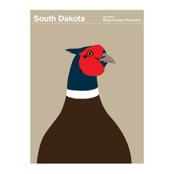 South Dakota Ring-necked Pheasant Print - The Chinese ring-necked pheasant is the state bird of South Dakota. It was introduced to South Dakota in 1898 and is easily recognized by its colorful plumage. It is also known for its delicious meat, yum.