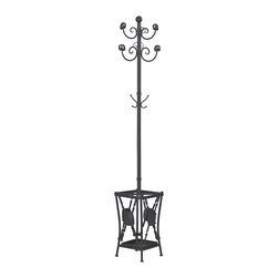 Sterling Lighting - Sterling Lighting Innistone Coat Rack With Umbrella Stand - Never leave the house on a rainy day without your umbrella again! This attractive Innistone Coat Rack With Umbrella Stand by Sterling will help create a well organized space and a smooth entry or exit. This stand is neat and stylish providing a place to hang jackets/ umbrellas and hats as you welcome family and friends into your home. Black metal stand is 79 inches tall and 12 inches in diameter.