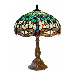 "Lamps Plus - Tiffany Dragonfly Motif Tiffany Style Table Lamp - This striking Tiffany inspired table lamp features a dragonfly motif in more than 250 pieces of colorful hand-cut glass accented by 72 ""jewels"". An elegant bronze finish base forms a stylish foundation. Bronze finish base. Tiffany style shade. Takes one 60 watt bulb (not included). Inline on-off switch. 17"" high. Shade is 12"" wide.  Bronze finish base.   Tiffany style shade.   Takes one 60 watt bulb (not included).   Inline on-off switch.   17"" high.   Shade is 12"" wide."