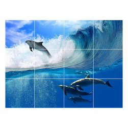 Picture-Tiles, LLC - Dolphin Picture Kitchen Bathroom Ceramic Tile Mural  12.75 x 17 - * Dolphin Picture Kitchen Bathroom Ceramic Tile Mural 1454