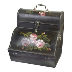 AA Importing - Floral Wine Box - 1 Horizontal compartment is behind hinged front. Top opens to reveal 3 vertical compartments. Dark finish wood painted with floral design. 21 in. L x 10.5 in. W x 13.5 in. H