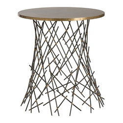 Arteriors - Grazia Side Table - Slender matchstick sized pieces of natural iron are fused together with brass welds to create the capricious design of the base. The round top is clad with an antique brass finish to match the welded details on the base.