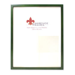 """Lawrence Frames - 11x14 Green Wood Picture Frame - Gallery Collection - This wood picture frame is the same you will find in studios and galleries and is the perfect frame for simply and elegantly framing any image.  It is a high quality wood frame joined in the corners with a """"spline"""" joint.  The molding is approximately 1 2 """" and is the perfect frame to use for a wall gallery.  This picture frame comes individually boxed, and includes high quality black wood backing with an easel for vertical or horizontal tabletop display, and hangers for wall mounting."""