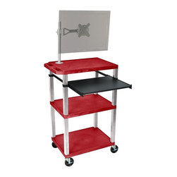 H. Wilson - Tuffy Portable Presentation Cart w Nickel Legs - Includes pullout laptop shelf and three outlet 15 ft. cord. Three shelves. High density polyethylene structural foam injection molded plastic shelves. 1.5 in. nickel legs that will not chip, warp, crack, rust or peel. 4 in. silent roll. Full swivel ball. 4 in. heavy duty casters, two with locking brakes. 0.25 in. safety retaining lip and a raised texture surface to enhance product placement. Ensures minimal sliding. Cord management wrap and three cable management clips. Electrical attachment recessed to insure easy passage through doorways. Shelves and legs are made from recycled material. Made from polyethylene and plastic. Made in USA. Minimal assembly required. Pullout shelf: 19.63 in. L x 15.63 in. W. Shelves: 24 in. L x 18 in. W x 1.5 in. H. Overall: 24 in. L x 18 in. W x 42.5 in. H. Warranty