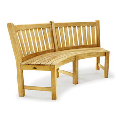 Westminster Teak Furniture - Buckingham Teak Bench 6 ft - The Buckingham Teak Bench 6 ft adds both architectural detail and grace with its curved look, level seat and sloping back for comfort. This solid teak bench provides the perfect opportunity to be comfortable in your garden or around your fire pit. Four Buckingham Teak Benches will complete a circle. Designed to be paired with the Buckingham 6 ft Teak Table for seating up to twelve.