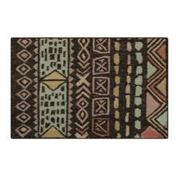 Surya - Surya Southwestern/Lodge Nomad Coal Black  Misty Green 5'x8' Rectangle Area Rug - The Nomad area rug Collection offers an affordable assortment of Southwestern/Lodge stylings. Nomad features a blend of natural Coal Black  Misty Green color. Handmade of 100% Wool the Nomad Collection is an intriguing compliment to any decor.