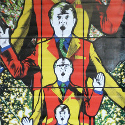 "Gilbert & George Life Street Banner Wall Art - From the de Young museum an authentic, limited edition street banner to display in your home as spectacular wall art. The 1980s brought us many duos, from Hall & Oates to Joanie & Chachi. Fortunately, it also brought us some fascinating art by the duo of Gilbert & George. 45 banners featuring a detail of ""Life"" from their 1984 work ""Life Death Hope Fear"" are available from their retrospective at the de Young Museum in San Francisco. Rendered in their inimitable style of cartoon brights, self-referential photography, and an almost Renaissance stained-glass aesthetic, the banners showcase their work to full effect. What would life be without death? Also from the Gilbert & George show come 45 banners featuring a detail of ""Death"" from ""Life Death Hope Fear"". While their ""Life"" image sends a message of movement, sound, and energy, the ""Death"" image portrays the two in still poses, expressionless, and motionless. The hothouse colors, however, bloom on both banners making them an incredible pair to hang side-by-side for maximum effect."