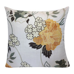 Vintage Maya - Versailles Silk Pillow Cover - You don't need a green thumb to keep these fabulous flowers in bloom. This floral print pillow cover is made from 100 percent silk for a truly luxurious addition to your sofa or bed.