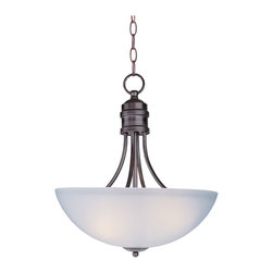Logan-Invert Bowl Pendant - Modern style at a competitive price will make this collection the next builder standard.  Tall profile Frost glass shades adorn a minimalistic frame in your choice of Satin Nickel or Oil Rubbed Bronze.