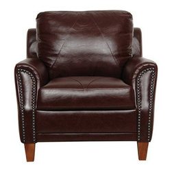 Luke Leather - 153 Chair - Austin Italian Leather Chair in Sienna Brown - Chair