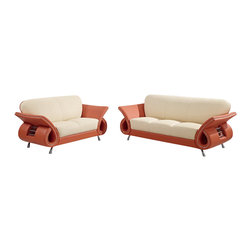 Global Furniture USA - U559 Beige & Orange Top Grain Leather Three Piece Sofa Set - The U559 sofa set works with any decor and will have you relaxing in modern comfort. This sofa set comes upholstered in a beautiful beige and orange top grain leather in the front where your body touches. Carefully chosen match material is used on the back and sides where contact is minimal. High density foam is used within the cushions for added comfort. Each piece features a open curved arm design with steel accents that adds to the overall look of the sofa set. The sofa set includes a sofa, loveseat, and chair only.