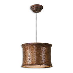 "Uttermost - Marcel Copper Drum Pendant - Sleek, Supple Metal Mesh Distinguishes This Unique Fixture. Metal Mesh Finished In A Metallic Copper. Dimensions: 12.5""H X 16.625"" Diameter; Lights: 2; Finish: Metallic Copper; Bulbs: Uses Up To 60 Watt Bulbs (Not Included); Light Covers: Metal Mesh; Weight: 10 lbs; UL Approved"