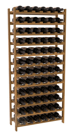 72 Bottle Stackable Wine Rack in Redwood with Oak Stain + Satin Finish - Four kits of wine racks for sale prices less than three of our 18 bottle Stackables! This rack gives you the ability to store 6 full cases of wine in one spot. Strong wooden dowels allow you to add more units as you need them. These DIY wine racks are perfect for young collections and expert connoisseurs.
