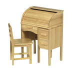 """Guidecraft - Guidecraft Jr Roll-Top Desk in Natural Wood Color - Guidecraft - Computer Desks - G97300 - Encourage your young executives or budding novelist to let their creativity flow. This beautiful replica of the classic roll-top desk will inspire your children to record their adventures or close that """"big deal"""". Re-created in natural wood color. This heirloom quality desk will be handed down from generation to generation. Features:"""