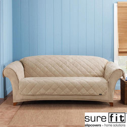 Sure Fit - Sure Fit Taupe Reversible Quilted/Sherpa Sofa Cover - Protect your furniture from stains and signs of wear with this reversible sofa cover from Sure Fit. Ideal for homes with kids and pets,this quilted slipcover flips over for a sophisticated,suede look. This taupe cover blends with any color scheme.