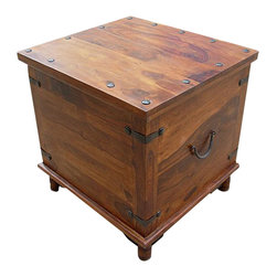 Sierra Living Concepts - Rustic Square Storage Trunk Box Coffee Side End Table - Wonderful Multi-purpose Solid Indian Rosewood Storage Trunk which can be used as side table .