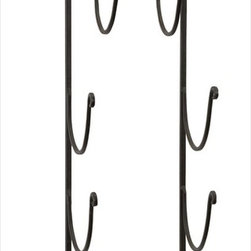"Imax Worldwide Home - Counterflory Wine or Towel Rack - This iron rack does double duty, it can be used for display and storage of decorative bath towel, or to store and display a collection of vintage wines; Country of Origin: China; Weight: 3.5 lbs; Dimensions: 39.75""h x 11.25""w x 7.25""d"