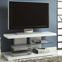Coaster - 700824 TV Console, High Gloss White - Chic and modern, this unique TV console in white can create a nice contemporary focal point in your living room. Featuring two sturdy glass shelves and a slotted back to keep all your wires and cables organized and hidden.