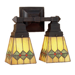 Meyda Tiffany - Meyda Tiffany Sconces Wall Sconce in Mahogany Bronze - Shown in picture: Martini Mission 2 Lt Wall Sconce; In Keeping With The Mission Style Of Translating Objects Into Geometric Forms - The Meyda Tiffany Design Team Has Taken The Martini - Complete With Olive - And Transformed It Into This Stylish Stained Glass Shade. Olive Green Diamonds With Pimento Red Accents Garnish The Honey Amber Shade That Is Suspended From Linear Mission Styled Two Light Wall Sconce In Mahogany Bronze.