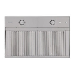 """34"""" Island Range Hood Insert - Combine this 34"""" insert with a 36"""" island range hood to provide the ventilation and lighting for a high-performance kitchen. It features two dimmable halogen lights and is made from stainless steel."""