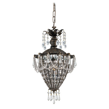 Crystorama - Single Light Mini ChandelierVanderbilt Collection - Named for American aristocracy, our Vanderbilt collection includes style and class. The Victorian-style collection is finished in a rich English bronze and adorned with clear hand polished crystal jewels.
