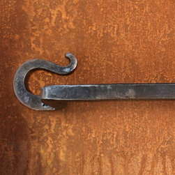 Hook Hand-Forged Iron Towel Bar - Hand-forged from wrought iron, this simple hook design towel bar will add a touch of rustic style to your bathroom.