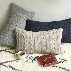 Braided Cable Pillow Cover - I don't knit, so I sure love that cable-knit accessories have become so popular. This is the perfect excuse to swap out pillows for the season. I'd also love these year-round at a New England vacation house.