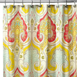 Echo Design™ Jaipur Fabric Shower Curtain - Here's some paisley for you! I can't help it; I've been so attracted to this print lately. The subdued primary colors of this curtain make it very eye catching, and it would go best with a soft background — maybe light blue walls with cream cabinetry. For drama, I'd accessorize with red and coral towels.