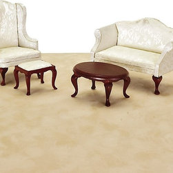 Town Square Miniatures - White Queen Anne Living Room Dollhouse Miniature Set - 03160 - Shop for Dollhouses and Dollhouse Furnishings from Hayneedle.com! The White Queen Anne Living Room Dollhouse Miniature Set boasts a rich sumptuous feel with delicate legs and elegant damask. Elegant and stately these pieces will add a touch of class to your traditional-style dollhouse. This 4-piece set on a 1:12 scale includes a loveseat oval coffee table high-backed wing chair and stool. Crafted from beautifully carved durable wood these Victorian-inspired pieces features a deep rich Mahogany finish and classic ivory upholstery. This exquisite set is suitable for use in collector dollhouses. As it includes small pieces it's not recommended for children under 13 years of age. Dimensions: Loveseat: 5.25W x 2.88D x 3.25H in. Coffee table: 3.25W x 2.38D x 1.5H in. Wing chair: 2.25W x 3.25D x 4.25H in. Stool: 2W x 1.5D x 1.38H in.