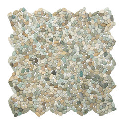 """CNK Tile - Mini Sea Green Pebble Tile - Each pebble is carefully selected and hand-sorted according to color, size and shape in order to ensure the highest quality pebble tile available.  The stones are attached to a sturdy mesh backing using non-toxic, environmentally safe glue.  Because of the unique pattern in which our tile is created they fit together seamlessly when installed so you can't tell where one tile ends and the next begins!     Usage:    Shower floor, bathroom floor, general flooring, backsplashes, swimming pools, patios, fireplaces and more.  Interior & exterior. Commercial & residential.     Details:    Sheet Backing: Mesh   Sheet Dimensions: 12"""" x 12""""   Pebble size: Approx 1/4"""" to 1/2""""   Thickness: Approx 1/4""""   Finish: Green Natural"""