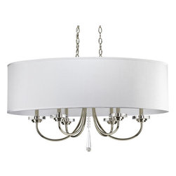 Thomasville Lighting - Thomasville Lighting P4431-104 Nisse 6 Light 1 Tier Chandelier with Off White Si - Thomasville Lighting P4431-104 Six Light Nisse Single Tier ChandelierOval in shape and contemporary in character, this elegant six light, single tier chandelier features a crisp Polished Nickel finish with chunky discs of clear glass, cylinder bobeches and a center beaded column with a modern cut prism drop. The included rich off-white silken fabric oval shade adds the finishing touch to this understated yet beautiful fixture.A striking blend of vintage elegance and modern drama, our Nisse collection is adorned with chunky discs of clear glass and draped in cascades of shimmering glass beads with cut-prism drops. Dress up a room with a family of fixtures adorned with shimmering glass accents and curved arms with a polished nickel finish.Features: