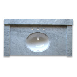 Stone Center Corp - Carrara Marble 49 inch Vanity Top w/ White Oval Undermount Sink Polished - Each set inclu