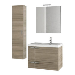 ACF - 31 Inch Larch Canapa Bathroom Vanity Set - Set Includes: Vanity Cabinet (2 Doors,1 Drawer), high-end fitted ceramic sink, wall mounted vanity mirror, tall storage cabinet.