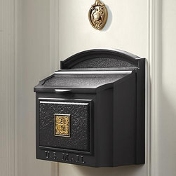 "Frontgate - Monogrammed Wall-mount Mailbox - Easily holds up to 14""-wide packages. Incredibly strong and guaranteed for life. Personalize with a single monogram in raised, golden-brown characters. Includes removable locking insert, two keys, and all necessary assembly hardware. Please check for accuracy; personalized orders cannot be modified, cancelled, or returned after being placed. Enjoy mail delivery right by your door with the Monogrammed Wall-mount Mailbox. This rustproof, powdercoated aluminum mailbox is built to oversized standards.. . . . . A Frontgate exclusive."