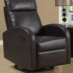 Monarch Specialties - Swivel Rocker Recliner (Ivory) - Choose Upholstery: IvoryPadded head rest for ultimate comfort. Easy glide motion. Contemporary design. Warranty: One year manufacturers. Made from bonded leather. Assembly required. 36 in. W x 30 in. D x 40 in. H (88 lbs.)This contemporary design accent chair combines three functional elements, ensuring that you are always in a comfortable position. Whether reading a book or watching sports this will be the chair that everyone will want to sit on. The Contemporary design makes it a chic and fashionable addition for your den, bedroom, living room or basement. It truly is a chair for any room in your home.