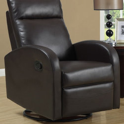 Monarch Specialties - Swivel Rocker Recliner - (Ivory) - Choose Upholstery: IvoryPadded head rest for ultimate comfort. Easy glide motion. Contemporary design. Warranty: One year manufacturers. Made from bonded leather. Assembly required. 36 in. W x 30 in. D x 40 in. H (88 lbs.)This contemporary design accent chair combines three functional elements, ensuring that you are always in a comfortable position. Whether reading a book or watching sports this will be the chair that everyone will want to sit on. The Contemporary design makes it a chic and fashionable addition for your den, bedroom, living room or basement. It truly is a chair for any room in your home.