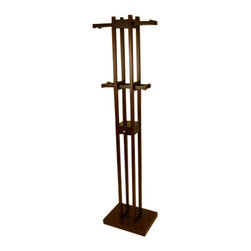 Proman - Kobe Coat Tree with Key Box, Dark Walnut Color - Kobe coat tree with key box. Dark Walnut color. Beautifully hand crafted. 4 Sliding rods w / 8 wood pegs for hanging. Middle drawer for your daily wearings.