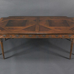French, Louis XVI, Neoclassical Mahogany Dining Table (AP Z 8L) - French style dining room table with no extensions in place.