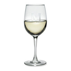 Frontgate - Set of Four Monogrammed Wine Glasses - Made of elegant soda lime glass. Sandblast finish adds durability. Handmade by glassmaking artisans. A great gift for housewarmings and other special occasions. Each glass is 16-oz.. Sip Chardonnay elegantly with these Monogrammed Wine Glasses. This high-quality glassware will certainly be a conversational piece at your large holiday gatherings or intimate celebrations, especially since you can add your own personalization to these glasses for free.. . . . . Can be engraved with up to 3 characters. Please note, personalized items are nonreturnable.