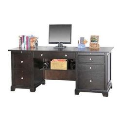 Winners Only - Metro Computer Credenza - Keyboard pullout. Left side pedestal has two drawers. Adjustable pullout right side pedestal. One drawer on right pedestal. Espresso finish. No assembly required. 72 in. W x 24 in. D x 30 in. H