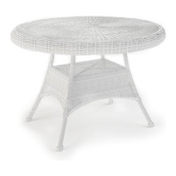 """Forever Patio - Rockport 42 in. Round Patio Dining Table, White Wicker - The Rockport 42"""" Round Dining Table (SKU FP-ROC-42DT-WH) gives a new meaning to """"going out for dinner"""", as it will make your patio the perfect place to dine. Its UV-protected White wicker and round-weave design creates a cheery, traditional look that is made to last. The top of the table has an umbrella hole for the option to add your own shade to your dining experience. This table also includes a tempered glass top, providing a beautiful and durable surface that is easy to maintain."""