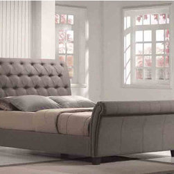"""Emerald Home Furnishings - Innsbruck Upholstered Sleigh Bed - Features: -Innsbruck collection. -Color: Cappuccino. -Upholstery material: Linen blend fabric. -5 Year warranty on frame and springs/1 year fabric and foam. Dimensions: -Queen footboard: 39"""" H x 64"""" W x 7"""" D. -King footboard: 30"""" H x 80"""" W x 7"""" D. -Queen headboard: 17"""" H x 64"""" W x 7"""" D. -King headboard: 51"""" H x 80"""" W x 7"""" D. -Queen rails: 9.5"""" H x 82"""" W x 1"""" D. -King rails: 12"""" H x 82"""" W x 1"""" D. -Queen slats: 5"""" H x 62"""" W x 5"""" D. -King slats: 5"""" H x 62"""" W x 5"""" D."""