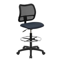 Flash Furniture - Ergonomic Adjustable Drafting Stool - 3 in. thick fabric upholstered seat. Pneumatic seat height adjustment. Heavy duty drafting kit. Height adjustable foot ring. Heavy duty nylon base. Dual wheel casters. Warranty: 2 year limited. Assembly required. Seat: 18 in. L x 17.25 in. W. Back: 17.25 in. L x 17.5 in. H. Seat Height: 26 - 30 in. H. Overall: 22 in. L x  22 in. W x 40.25 - 45.25 in. H (32 lbs.)