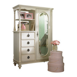 Lea Industries - Lea Emmas Treasures Mirror Door Chest in White - Inviting, casual and comfortable easily describes Emmas Treasures from Lea Furniture.  Traditional styling mixed with a cozy time-worn appearance creates a  collection of youth furniture sure to please any age girl.