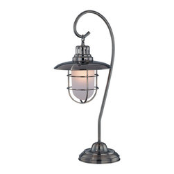 Lite Source - Lite Source LS-21455AB Lanterna 1 Light Table Lamps in Antique Brass - Table Lamp, Ab/Metal Lantern/Glass Shade, Type A 60W