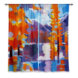 "DiaNoche Designs - Window Curtains Lined by Hooshang Khorasani Flaming Foliage Longs Peak Bear Lake - DiaNoche Designs works with artists from around the world to print their stunning works to many unique home decor items.  Purchasing window curtains just got easier and better! Create a designer look to any of your living spaces with our decorative and unique ""Lined Window Curtains."" Perfect for the living room, dining room or bedroom, these artistic curtains are an easy and inexpensive way to add color and style when decorating your home.  This is a woven poly material that filters outside light and creates a privacy barrier.  Each package includes two easy-to-hang, 3 inch diameter pole-pocket curtain panels.  The width listed is the total measurement of the two panels.  Curtain rod sold separately. Easy care, machine wash cold, tumble dry low, iron low if needed.  Printed in the USA."