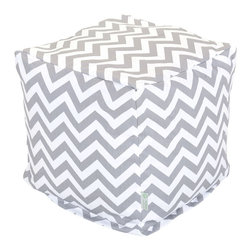 Majestic Home - Outdoor Gray Chevron Small Cube - Add style and color to your living room or outdoor seating arrangement with Majestic Home Goods Small Cube Ottoman. This cube is perfect for use as a footstool, side table or as extra seating for guests. Woven from outdoor treated polyester, these cubes have up to 1000 hours of U.V. protection and are able to withstand all of natures elements. The beanbag inserts are eco-friendly by using up to 50% recycled polystyrene beads, and the removable zippered slipcovers are conveniently machine-washable.