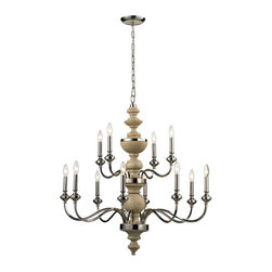 ELK - ELK 14183/8+4 Chandelier - The Stratford collection exhibits historic charm while proudly displaying its eye catching material combination.  A center column of solid turned wood, finished in washed pine, combines with Polished Nickel metalwork for a classic and inviting design.