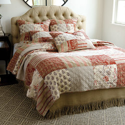Ballard Designs - Annabel Heirloom Patchwork Quilt - Coordinates with our Annabel Patchwork Sham. Features toile, paisley, stripe & solid patterns. Reverses to contrasting stripe. Our Annabel Patchwork Quilt is so soft, it feels like a well-loved family heirloom. The classic patchwork design was created from mix of our favorite antique fabrics. Hand quilted 100% cotton, filled with 2200-gram cotton. Annabel Patchwork Quilt features: . . .